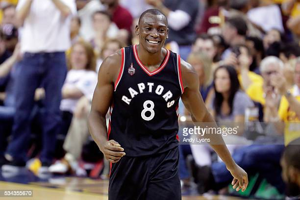 Bismack Biyombo of the Toronto Raptors reacts after a call in the second quarter against the Cleveland Cavaliers in game five of the Eastern...