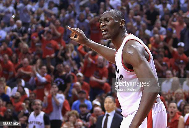 Bismack Biyombo of the Toronto Raptors reacts during the first half against the Cleveland Cavaliers in game three of the Eastern Conference Finals...