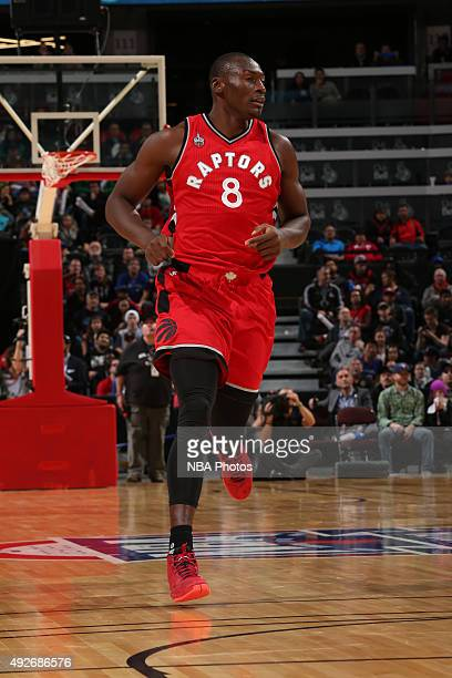 Bismack Biyombo of the Toronto Raptors runs down the court against the Minnesota Timberwolves at Canadian Tire Centre on October 14 2015 in Ottawa...