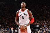 Bismack Biyombo of the Toronto Raptors shoots a free throw during the game against the Denver Nuggets on December 3 2015 at the Air Canada Centre in...