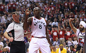 Bismack Biyombo of the Toronto Raptors wags his finger after blocking a shot against the Indiana Pacers in Game One of the Eastern Conference...