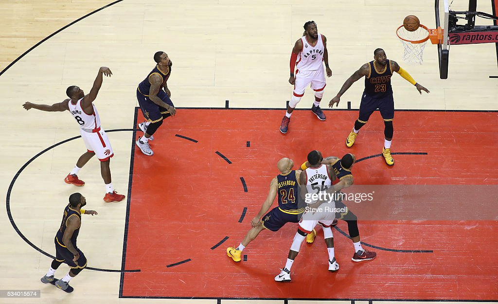 Bismack Biyombo takes a foul shot as the Toronto Raptors beat the Cleveland Cavaliers in game 4 of the NBA Conference Finals in Toronto. May 23, 2016.