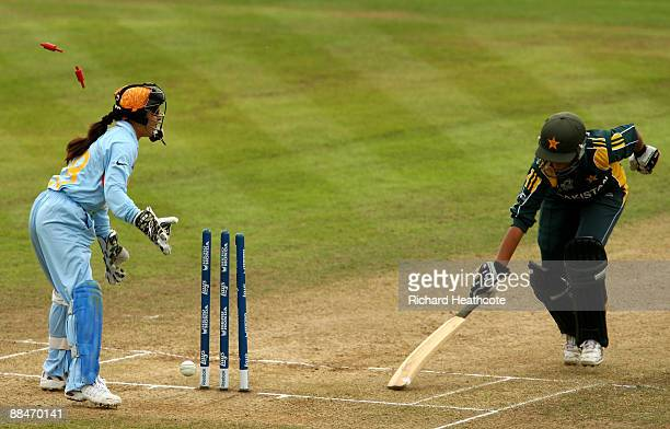 Bismah Maroof of Pakistan just makes her ground to avoid being runout during the ICC Women's Twenty20 World Cup match between India and Pakistan at...