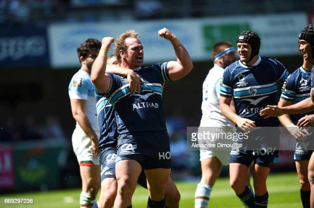 Bismarck Du Plessis of Montpellier celebrates during the Top 14 match between Montpellier and Bayonne on April 16 2017 in Montpellier France