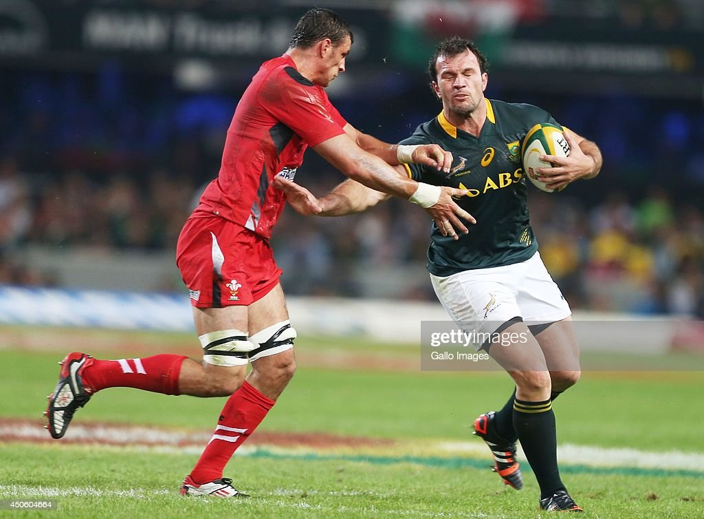 Bismarck du Plessis of South Africa is tackled by Aaron Shingler of the Wales during the Incoming Tour match between South Africa and Wales at Growthpoint Kings Park on June 14, 2014 in Durban, South Africa.