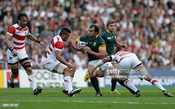 Bismarck Du Plessis of South Africa takes the ball on during the 2015 Rugby World Cup Pool B match between South Africa and Japan at Brighton...