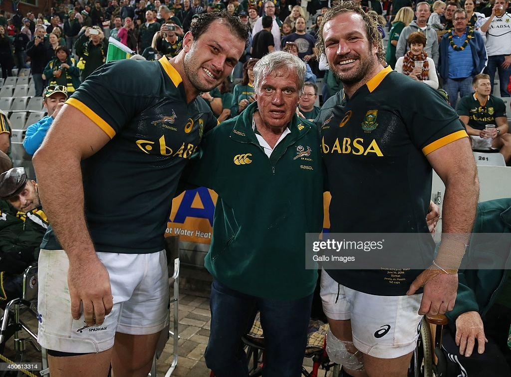 Bismarck du Plessis of South Africa with Mr du Plessis and Jannie du Plessis of South Africa during the Incoming Tour match between South Africa and Wales at Growthpoint Kings Park on June 14, 2014 in Durban, South Africa.