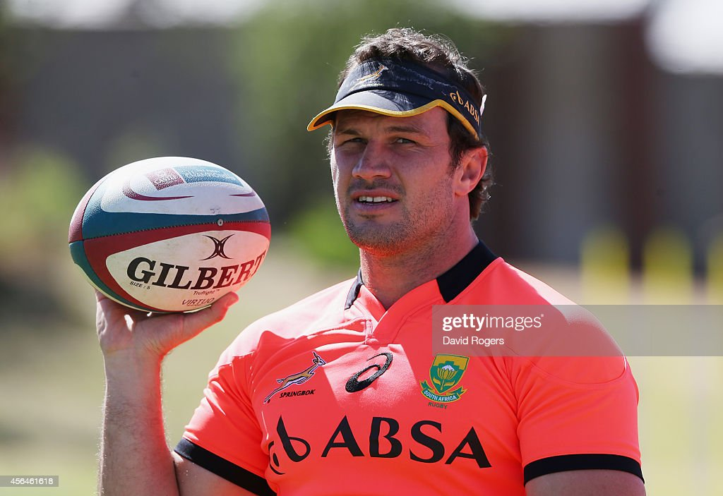 Bismarck du Plessis, who has been selected to play as hooker against the All Blacks, holds onto the ball during the South African Springboks training session held at St. Peter's College on October 1, 2014 in Johannesburg, South Africa.