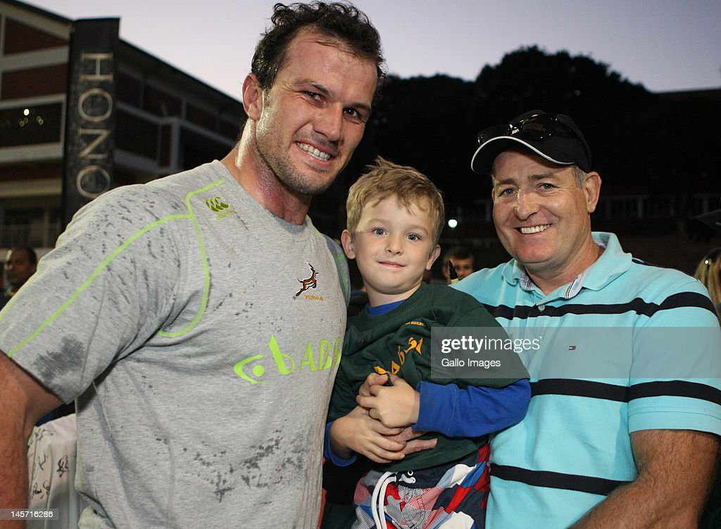 Bismarck du Plessis with father David Campese and son during the South African national rugby team training session at Northwood Crusaders Rugby Club on June 04, 2012 in Durban, South Africa.