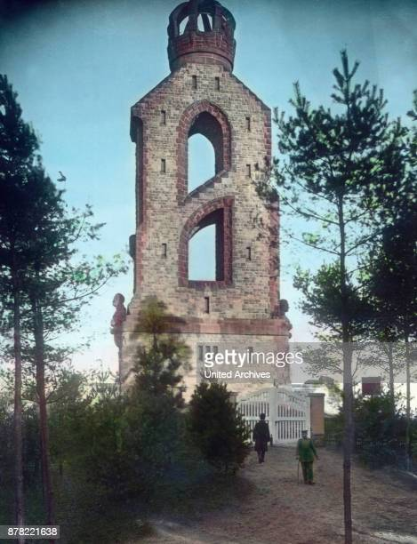 Bismarck lookout tower shaped like the letter 'B' at Aachen 1920s