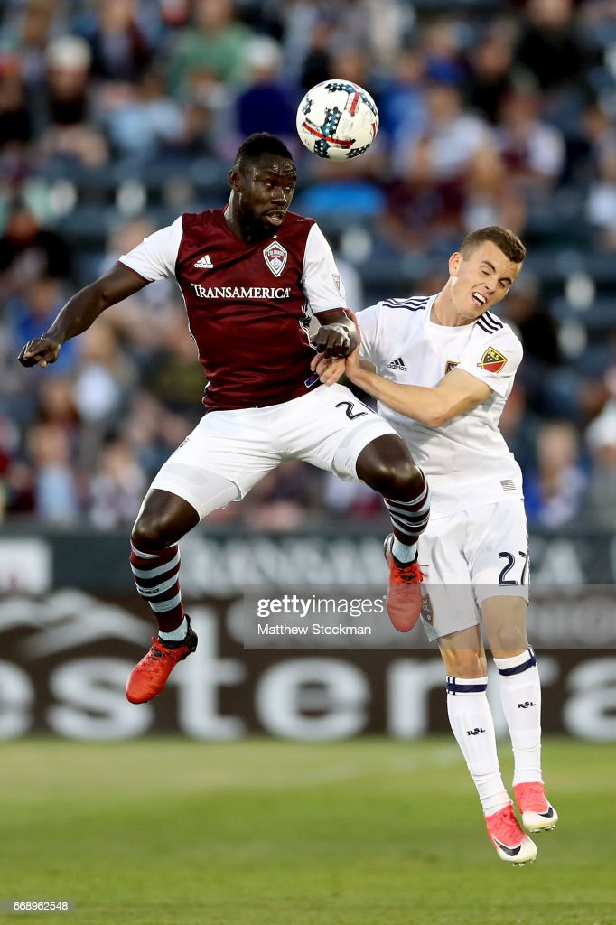 Bismark Adjel-Boateng #21 of the Colorado Rapids goes up for a header ainst Brooks Lennon #27 of Real Salt Lake at Dick's Sporting Goods Park on April 15, 2017 in Commerce City, Colorado.