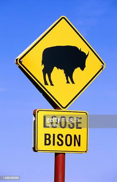 Bison sign, Tallgrass Prairie Preserve.