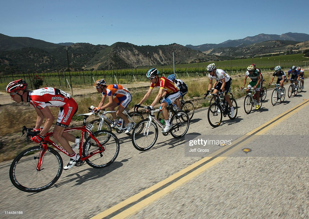 Bissell team rider Chris Baldwin of the USA (L) leads a breakaway group during stage five of the 2011 AMGEN Tour of California from Seaside to Paso Robles on May 19, 2011 in Monterey County, California.