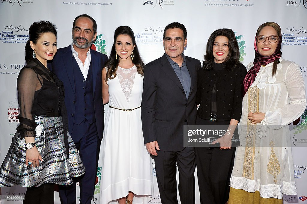 Bita Milanian, <a gi-track='captionPersonalityLinkClicked' href=/galleries/search?phrase=Navid+Negahban&family=editorial&specificpeople=699830 ng-click='$event.stopPropagation()'>Navid Negahban</a>, Shirin Rajaee, Houshang Touzie, <a gi-track='captionPersonalityLinkClicked' href=/galleries/search?phrase=Shohreh+Aghdashloo&family=editorial&specificpeople=210536 ng-click='$event.stopPropagation()'>Shohreh Aghdashloo</a> and Mahnaz Afshar attend the 6th Annual Farhang Foundation's Short Film Festival award ceremony and reception at LACMA on March 22, 2014 in Los Angeles, California.
