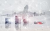 Bitcoin Euro Dollar Finance Web Money concept. Ñoins on virtual screen double exposure.