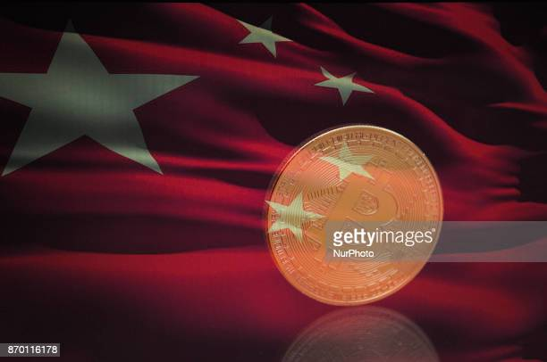 A bitcoin is seen with a Chinese flag in this photo illustration on November 4 2017