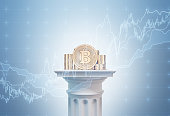 Gold bitcoin stacks standing on a white column against a blue background with graphs on it. Concept of mining. 3d rendering toned image double exposure