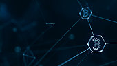 Bitcoin and block chain cryptocurrency concept with bitcoin currency sign on connecting lines. Digital encryption network for world money.