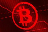Bitcoin on monitor screen.