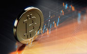 Metallic Bitcoin symbol over financial chart. Horizontal composition with selective focus and copy space.