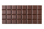 Bitter, dark chocolate bar isolated on white background, top view.