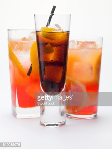 Bitter schnapps with ice cubes, Campari Soda & Campari Orange