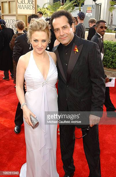 Bitty Schram and Tony Shalhoub during The 61st Annual Golden Globe Awards Access Hollywood Platform Arrivals at The Beverly Hilton Hotel in Beverly...
