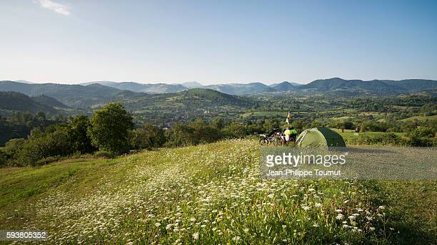 Bivouac in the mountains of Maramures, bicycle touring near Poienile Izei in Romania
