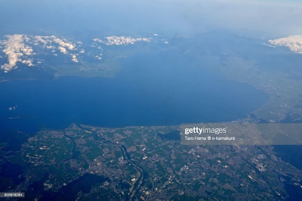 Biwa Lake, Hikone and Higashiomi cities day time aerial view from airplane : ストックフォト