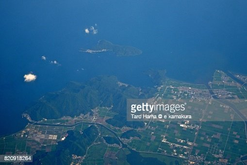 Biwa Lake, Omihachiman and Higashiomi cities in Shiga prefecture day time aerial view from airplane : ストックフォト
