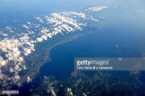 Biwa Lake, Otsu, Moriyama, Yasu and Omihachiman cities day time aerial view from airplane : ストックフォト