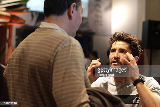 Bixente Lizarazu and French rugby player Abdelatif Benazzi are seen together during the Quicksikver flagship inauguration at Bercy Village on May 10...