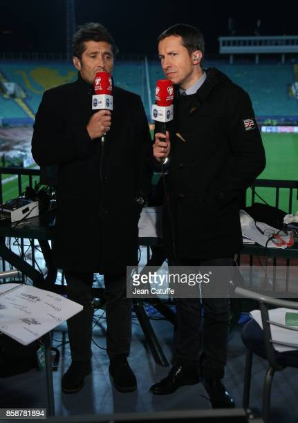 Bixente Lizarazu and Gregoire Margotton of TF1 commentate the FIFA 2018 World Cup Qualifier between Bulgaria and France at Vasil Levski National...