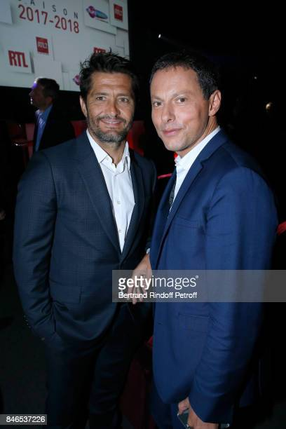 Bixente Lizarazu and MarcOlivier Fogiel attend the RTL RTL2 Fun Radio Press Conference to announce their TV Schedule for 2017/2018 at Elysee Biarritz...