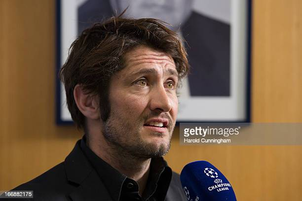Bixente Lizarazu of FC Bayern looks on during an interview after to the UEFA Champions League and UEFA Europa League semifinal and final draws at the...