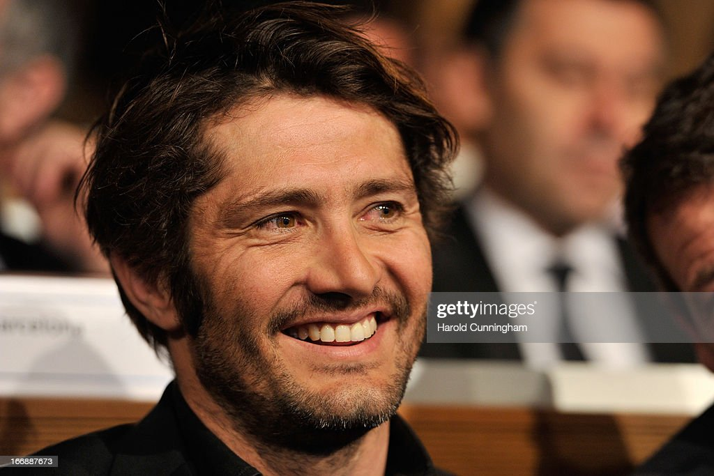 <a gi-track='captionPersonalityLinkClicked' href=/galleries/search?phrase=Bixente+Lizarazu&family=editorial&specificpeople=213089 ng-click='$event.stopPropagation()'>Bixente Lizarazu</a> (L) of FC Bayern looks on during the UEFA Champions League and UEFA Europa League semi-final and final draws at the UEFA headquarters on April 12, 2013 in Nyon, Switzerland.