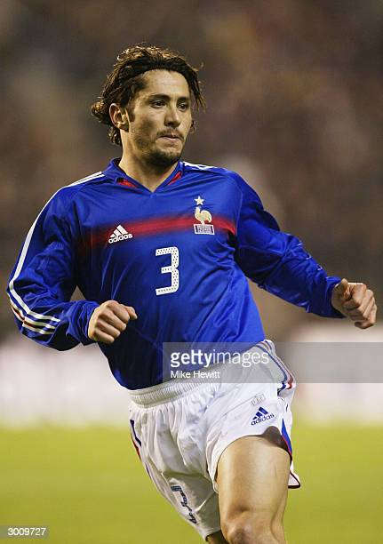 Bixente Lizarazu of France in action during the International Friendly match between Belgium and France held on February 18 2004 at the King Baudouin...