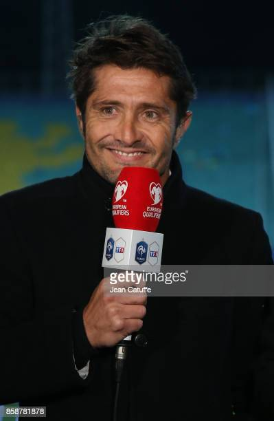 Bixente Lizarazu of TF1 commentates the FIFA 2018 World Cup Qualifier between Bulgaria and France at Vasil Levski National Stadium on October 7 2017...