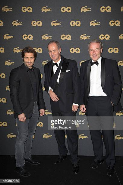 Bixente Lizarazu Xavier Romatet and Christophe Chenut attend the 'GQ Men of the year awards 2013' at Museum d'Histoire Naturelle on November 20 2013...