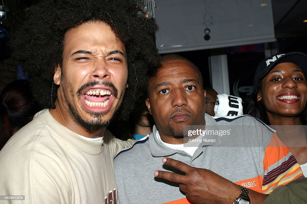 Bizarre Royale and Kevin Liles of Def Jam during House of Courvoisier and Phat Farm presents the Phat Classics Flavas Party New York City at Villa in New York City, New York, United States.
