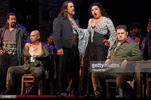 Bizet's 'Carmen' at the Metropolitan Opera House on Friday September 26 2014This imageFrom left Eduardo Valdes Kevin Miller Malcolm MacKenzie Anita...