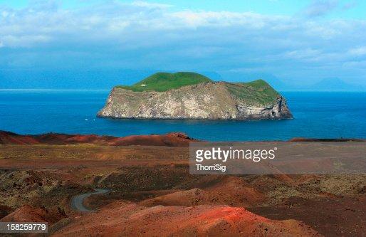 Bjarnarey Island seen from Mount Eldfell