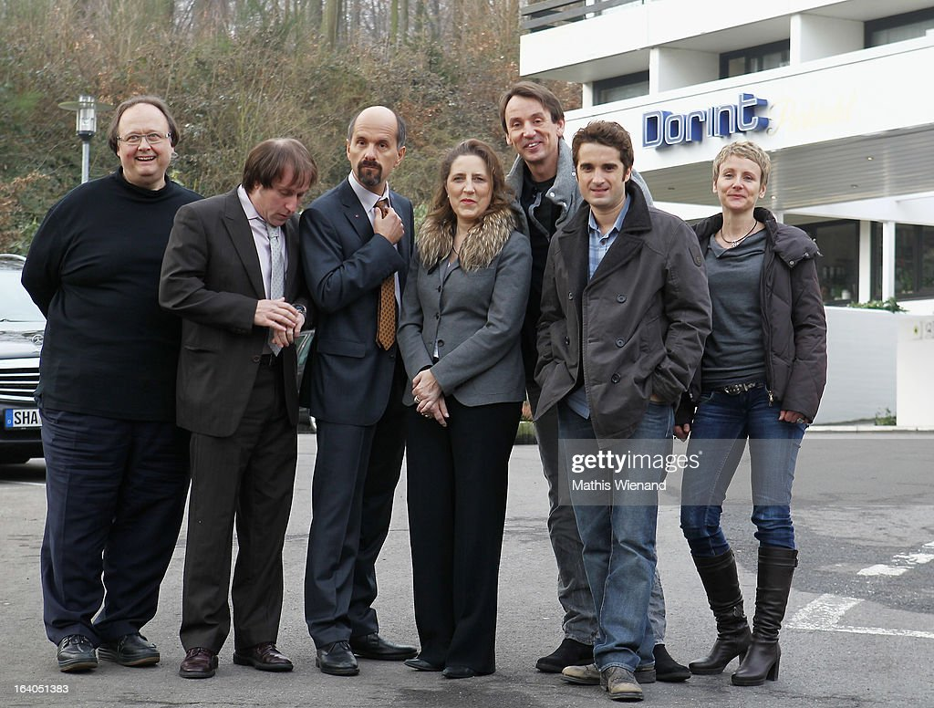 Bjarne Maedel (alias Ernie), Christoph Maria Herbst (alias Bernd Stromberg), Oliver Wnuk (alias Ulf), Eddar Sonnemann, Petra Mueller, Frederic Komp (ceo brainpool / myspass.de), Christoph Ott (NFP), Ralf Husmann, Ingrid Langheld visit the set of 'Stromberg - Der Film' at Dorint Hotel on March 19, 2013 in Arnsberg, Germany.
