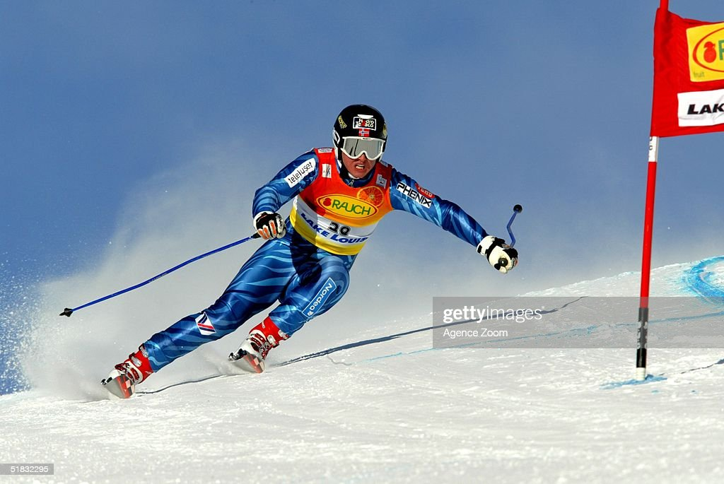Bjarne Solbakken in action during Day Two of the FIS Ski World Cup Mens Super Giant Slalom competition on November 28, 2004 in Lake Louise, Canada.
