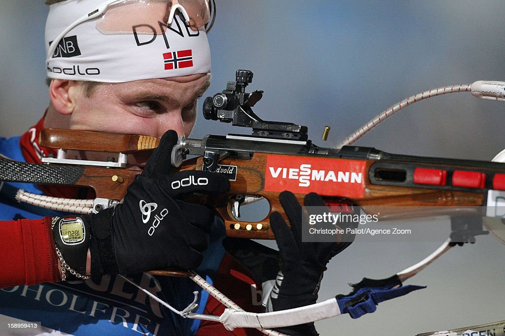 Bjoentegaard Erlend of Norway takes 2nd place during the IBU Biathlon World Cup Men's Relay on January 04, 2013 in Oberhof, Germany.