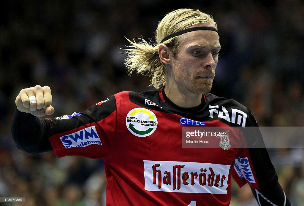 Bjoergvin Gustavsson, goalkeeper of Magdeburg reacts during the Toyota Handball Bundesliga match between SC Magdeburg and Fuechse Berlin at Getec-Arena on September 6, 2011 in Magdeburg, Germany.