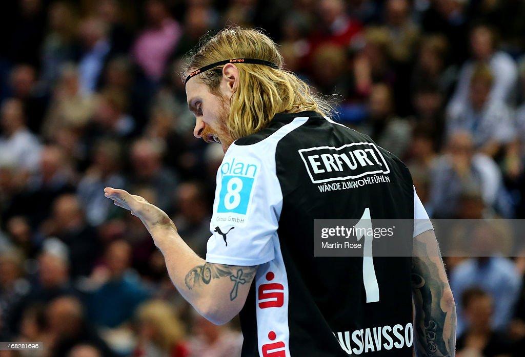 Bjoergvin Gustavsson, goaltender of Bergischer HC reacts during the DKB HBL Bundesliga match between THW Kiel and Bergischer HC at Sparkassen Arena on April 1, 2015 in Kiel, Germany.