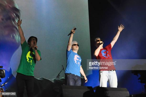 Bjoern Beton Koenig Boris and Dokter Renz of Fettes Brot perform on stage a 'Falco Tribute' during the Day 2 at Donauinselfest 2017 at Donauinsel on...