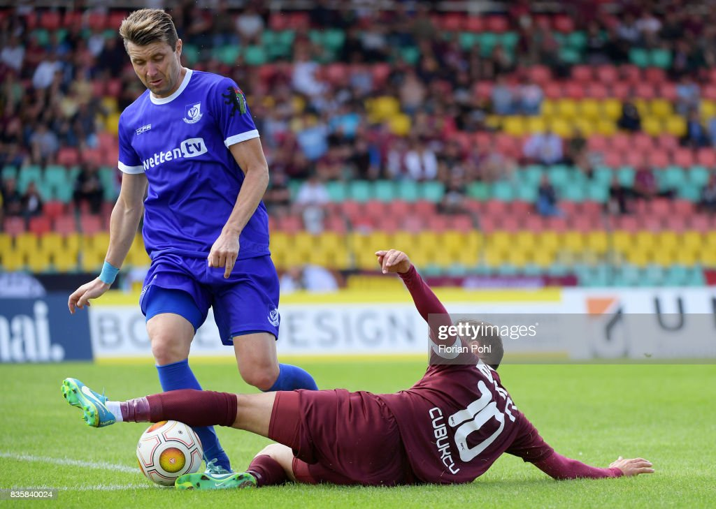 Bjoern Brunnemann of VSG Altglienicke and Bilal Cubukcu of BFC Dynamo during the game between BFC Dynamo Berlin and VSG Altglienicke on august 20, 2017 in Berlin, Germany.