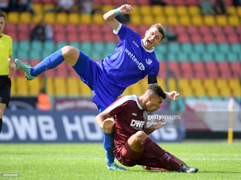 Bjoern Brunnemann of VSG Altglienicke and David Malembana of BFC Dynamo during the game between BFC Dynamo Berlin and VSG Altglienicke on august 20, 2017 in Berlin, Germany.